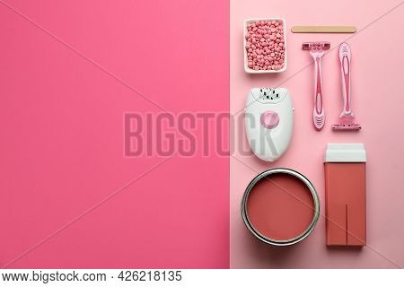 Set Of Epilation Products On Color Background, Flat Lay. Space For Text