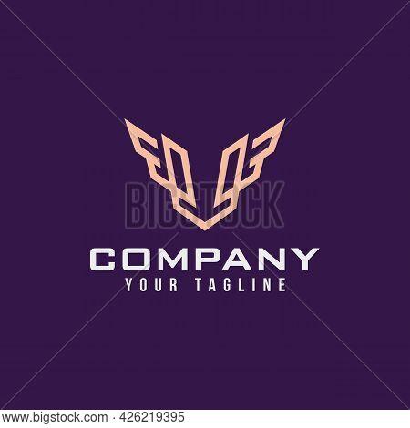 Luxury Letter V Logo Design In Gold Color With Black Background, V Monogram Logo With Wing Elements