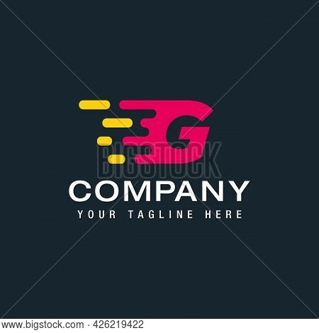 Letter G With Delivery Service Logo, Fast Speed, Moving And Quick, Digital And Technology For Your C
