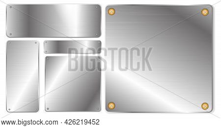 Set Of Realistic Shiny Metal Isolated Or Various Shape Brushed Steel Alloy Or Steel Plate Polished M