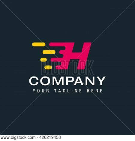 Letter H With Delivery Service Logo, Fast Speed, Moving And Quick, Digital And Technology For Your C