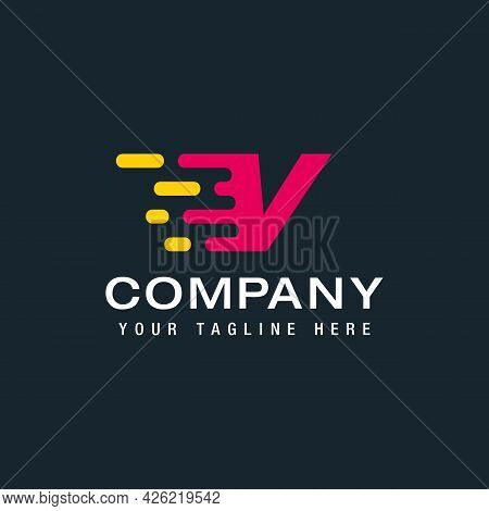 Letter V With Delivery Service Logo, Fast Speed, Moving And Quick, Digital And Technology For Your C