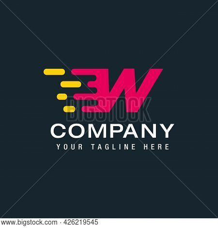 Letter W With Delivery Service Logo, Fast Speed, Moving And Quick, Digital And Technology For Your C