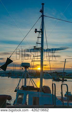 Napier Waterfront, Westshore, Ahuriri, Fishing Boats Rigging Silhouette. New Zealand.