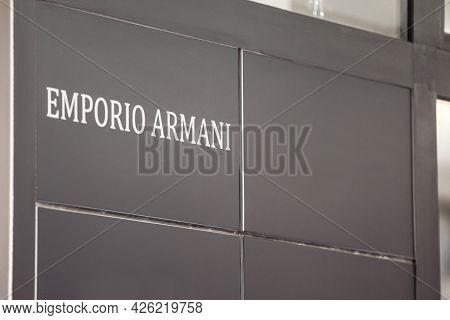 Belgrade, Serbia - May 3, 2021: Selective Blur On An Emporio Armani Logo On Their Main Retailer In B