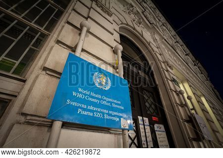 Ljubljana, Slovenia - June 14, 2021:  Selective Blur On The Logo Of Who, Or World Heath Organization