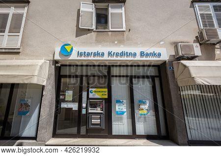 Rijeka, Croatia - June 18, 2021: Istarska Kreditna Banka Logo On Their Rijeka Office. Ikb Istarska K