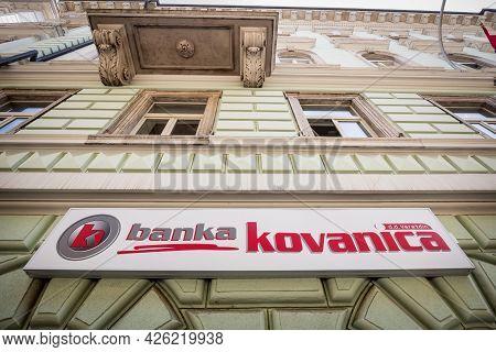 Rijeka, Croatia - June 18, 2021: Banka Kovanica Logo On Their Rijeka Office. Banka Kovanica Is A Cro