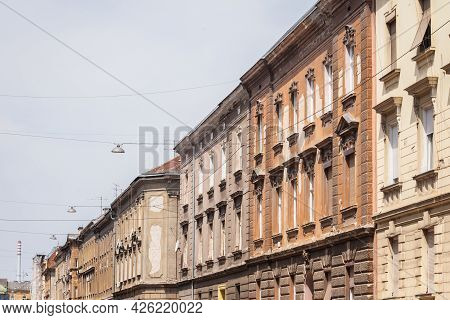 Typical Austro Hungarian Facades Of Decaying Dilapidated Old Appartment Residential Buildings In A S