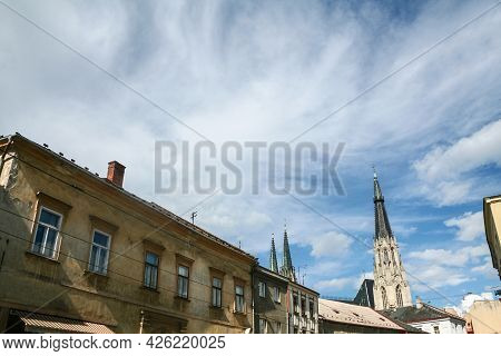 Main Tower And Steeple Of Saint Elizabeth Cathedral In Kosice, Slovakia, Seen From Nearby Building.