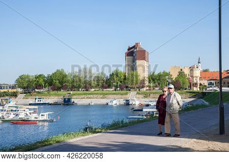 Vukovar, Croatia - April 20, 2018: Two Seniors, An Old Married Couple, Grandfather And Grandmother,