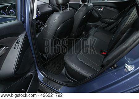 Novosibirsk, Russia - June 29, 2021: Hyundai Ix35, Rear Seat For Passengers In Black Textile, Open D