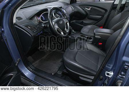 Novosibirsk, Russia - June 29, 2021: Hyundai Ix35,  Steering Wheel, Shift Lever, Multimedia  Systeme