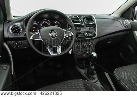 Novosibirsk, Russia - June 29, 2021: Renault Sandero,  Steering Wheel, Shift Lever, Multimedia  Syst