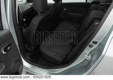 Novosibirsk, Russia - June 29, 2021: Renault Sandero, Rear Seat For Passengers In Black Textile, Ope