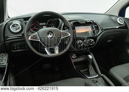 Novosibirsk, Russia - June 29, 2021: Renault Kapture,  Steering Wheel, Shift Lever, Multimedia  Syst