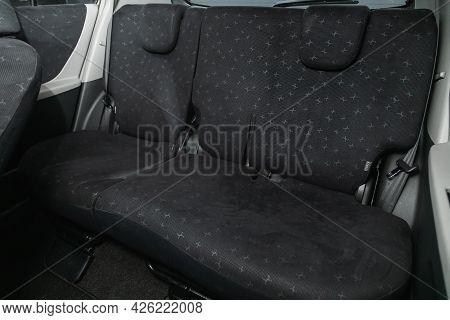 Novosibirsk, Russia - June 29, 2021: Toyota Vitz, Interior Design, Car Passenger And Driver Seats Wi