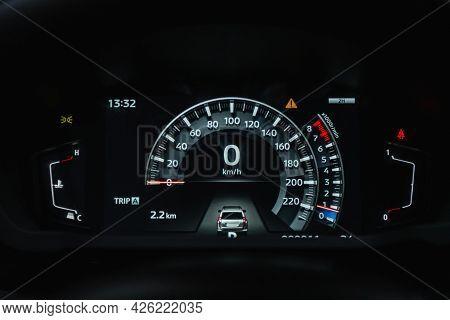 Novosibirsk, Russia - June 29, 2021: Mitsubishi Pajero Sport, Car Panel, Digital Bright Speedometer,