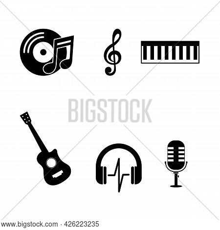 Vector Music Icon Set. Music Icon Isolated On White Background. Musical Icon Simple Sign. Musical Ic