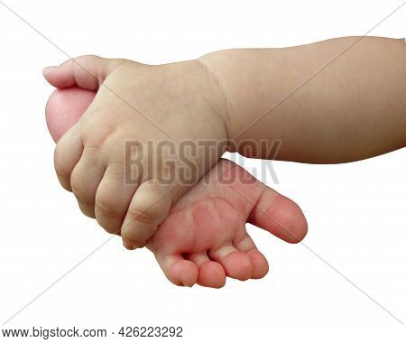 Feet Of A Newborn Baby In The Palms Of A Baby.  Close-up Of A Baby Hand Holding The Foot Of A Newbor