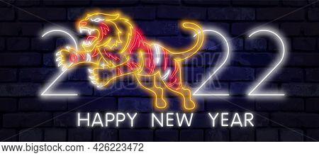 Neon Tiger 2022. Wild Animal, Zoo, Nature Design. Night Bright Neon Sign, Colorful Billboard, Light