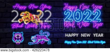 Neon Tiger 2022. Happy New Year Of The Blue Water Tiger. Orange Neon Style On Black Background. Vect