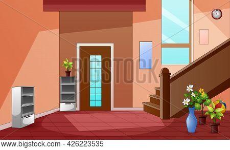Cartoon Corridor Interior With Stairs And Entrance Door