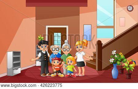 Cartoon Of Happy Family Member At The Home