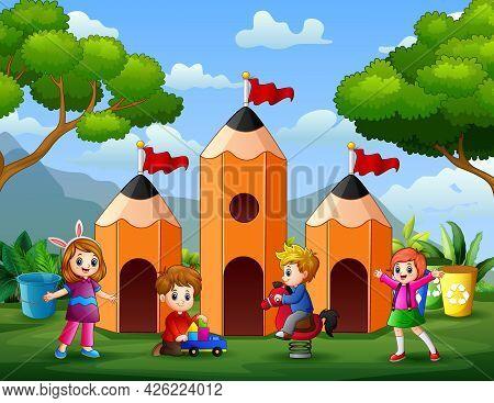 The Children Having Fun At Pencil House Illustration