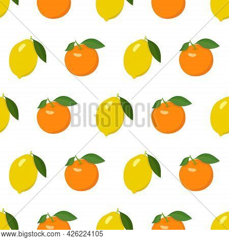Seamless Bright Pattern With Lemon And Orange. Citrus Print For A Healthy Lifestyle. Vector Flat Ill