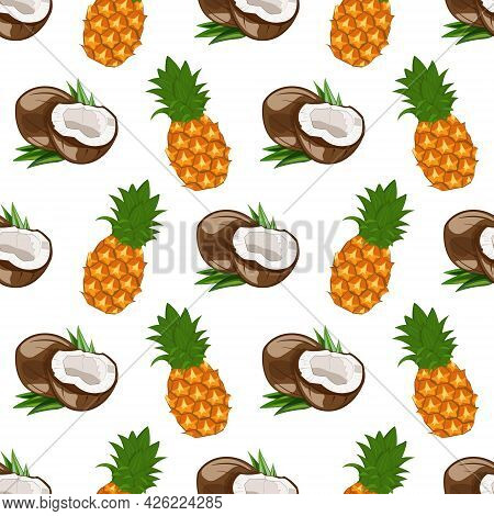 Seamless Pattern With Coconut And Pineapple. Ripe Fruits Of The Tropical Jungle. Exotic Summer Print