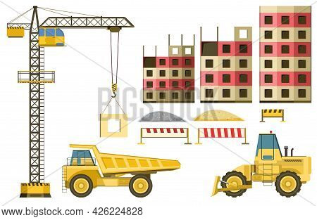 Tech Set For Building Buildings And Roads. Bulldozer, Truck. Modern Technologies And Equipment. Isol