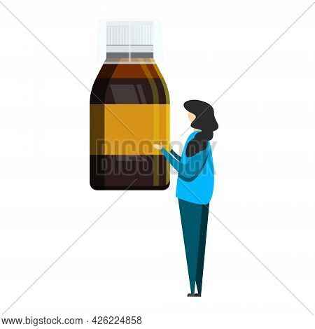 Tiny Woman Holding A Bottle Of Cough Syrup. Vector Illustration