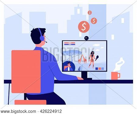 Cartoon Guy Streaming Game He Playing On Computer. Flat Vector Illustration. Young Man With Headphon