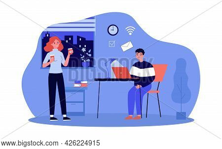 Secretary Bringing Coffee To Boss. Flat Vector Illustration..girl Bringing Drinks For Herself And Yo