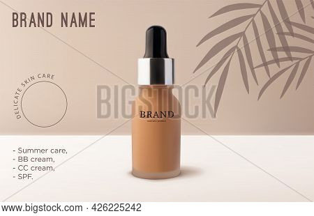 Mockup Realistic 3d Tube Makeup Foundation Cream On Beige Background With Tropical Palm Tree Leaves