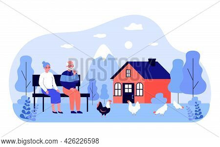 Grandfather And Grandmother Sitting On Bench In Backyard. Flat Vector Illustration. Elderly Couple L