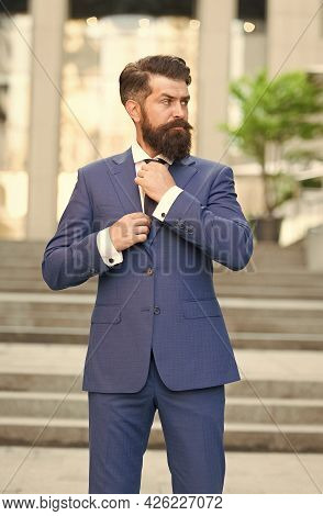 Serious Director With Hipster Beard Fix Tie Wearing Formal Suit Outdoors, Formalwear