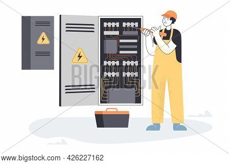 Electrician Working With Electrical Panel. Flat Vector Illustration. Man In Uniform And Helmet Repai