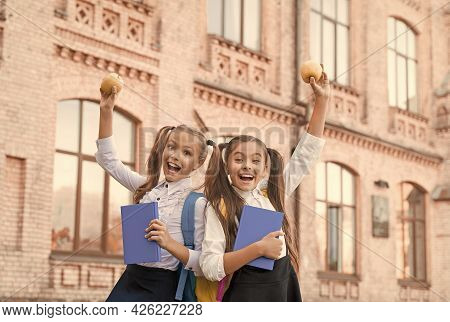 Students Girls Classmates With Backpacks Having School Lunch, Child Care Concept