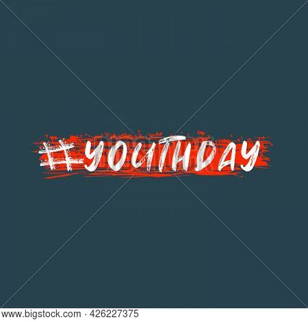 Bold And White Scratched Youth Day Sign Letter With Abstract Scratched Orange Background