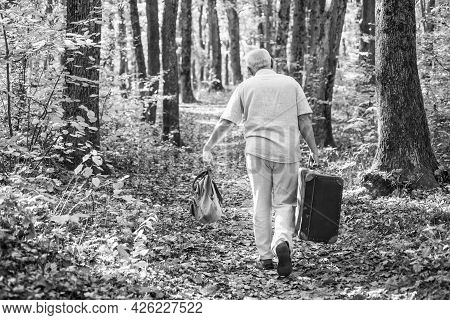 Retro Bag Is His Travel Companion. Old Man Carry Travel Bag In Woodland. Elderly Person Travel Throu