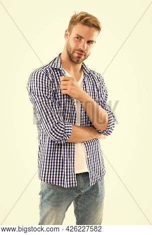 Skin And Hair Care. Handsome Young Man Wear Checkered Shirt. Casual Male Fashion Style. Unshaven Guy
