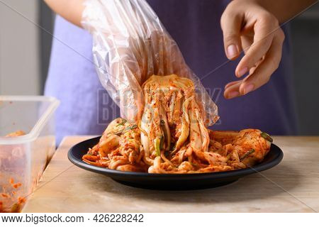 Kimchi Cabbage Ready To Eating, Popular Homemade Korean Traditional Fermented Side Dish Food
