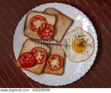 Omelet Tomato With Bread Combo Breakfast Is The First Meal Of The Day Eaten After Waking From The Ni