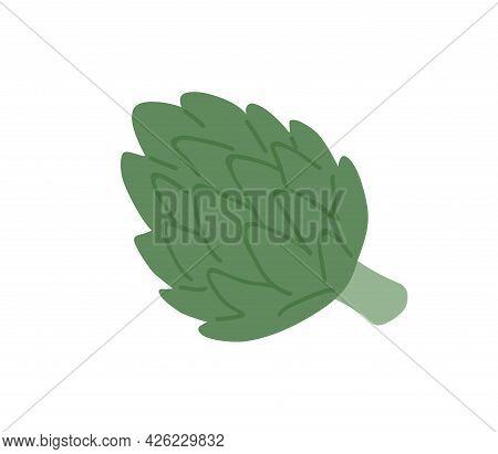 Fresh Artichoke On Stem. Raw Green Vegetable. Natural Organic Veggie Ingredient. Flat Vector Illustr