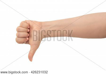 Woman Hand Thumb Down Sign Isolated On White Background. Caucasian Female Hand With Thumbs Up Gestur