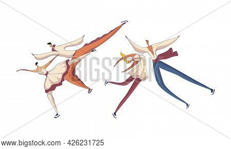 Figure Skating With Male And Female Pair Performing On Ice Vector Set