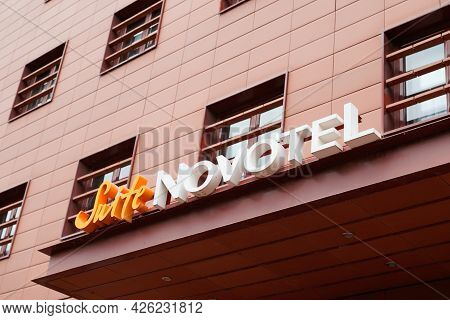 Toulouse , Ocitanie France  - 06 30 2021 : Novotel Suite Hotel Text Brand And Text Sign Logo On Buil