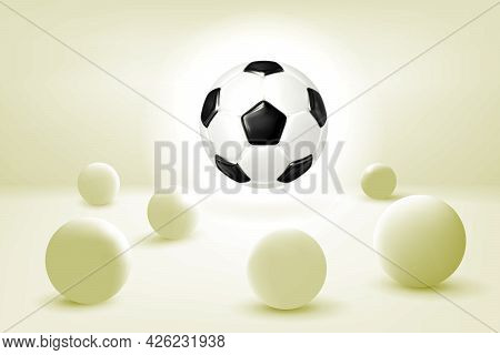 Abstract Futuristic 3d Composition. Soccer Ball Hangs In The Air Above A Surface With Balls In A San